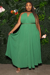 "Plus Size ""In the Spirit of Love"" Pleated Maxi Dress - Green"
