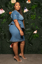 "Plus Size ""Poise In"" Denim Peplum Dress - Medium Blue"