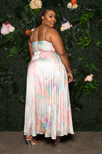 "Plus Size ""Pink Marble Dreams"" Pleated Maxi Dress - Multi Pink"