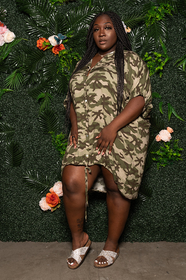 "Plus Size ""Pinky Promise"" Oversized Balloon Shirt Dress - Army Camo Green"
