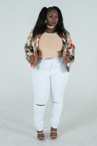 "Plus Size ""Cookie"" Faux Vegan Fur - Gren Rust Multi"