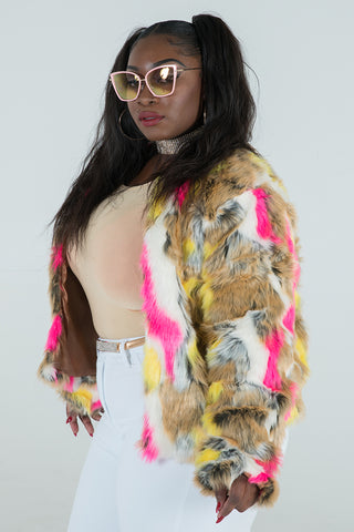 "Plus Size ""Cookie"" Faux Vegan Fur - Pink Yellow Multi"