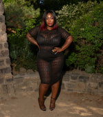 "Plus Size ""Fendy"" Mesh Short Sleeve Midi Dress - Black"