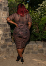 "Plus Size ""Fendy"" Mesh Short Sleeve Midi Dress - Nude Black"