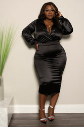 "Plus Size ""Feeling A Million"" Skirt Set - Black"