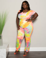 "Plus Size ""Double Up"" Ruched Pant Set - Neon Yellow Pink"