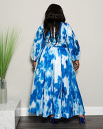 "Plus Size ""Cool Breeze"" Maxi Dress - Royal Blue Tie Dye"