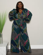"Plus Size ""Blue Metaphor"" Wide Leg Jumpsuit - Black Blue Multi"