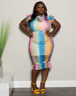 "Plus Size ""Mixed Feelings"" Lace Dress - Multi Pink Blue MUstard"
