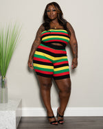 "Plus Size ""Could You Be Loved"" Knit Rasta Biker Set - Red Yellow Black Green 0024"