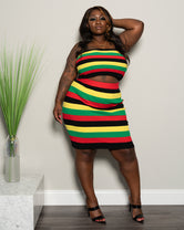 "Plus Size ""Marley"" Knit Rasta Skirt Set 0006 - Red Yellow Black Green"