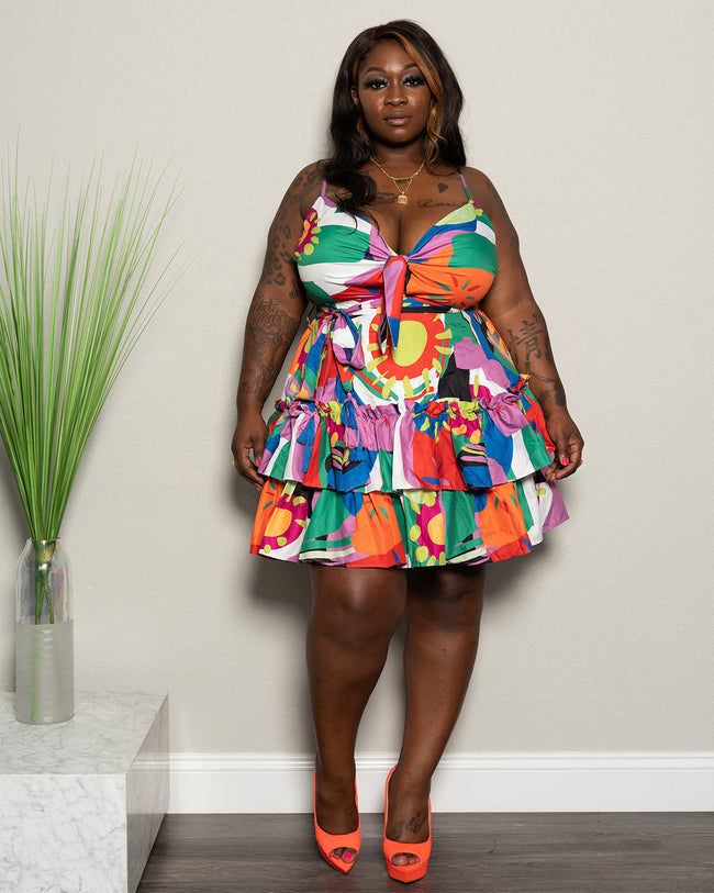 "Plus Size ""Carnival Sunrise"" Ruffle Babydoll Dress - Multi"