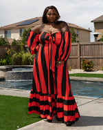 "Plus Size ""Set Sail"" Off Shoulder Maxi Dress- Red Black"