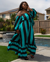 "Plus Size ""Set Sail"" Off Shoulder Maxi Dress- Teal Black"