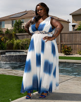 "Plus Size ""Angel Wings"" Maxi Dress - Blue Ombre"