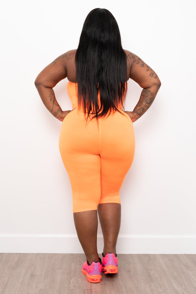 "Plus Size ""Hunnie"" Capri Tube Jumper - Neon Orange"