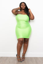 "Plus Size ""Blinded By Your Love"" Mini Tube Dress - Neon Green"