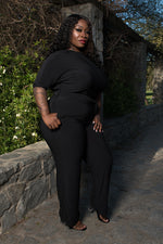 "Plus Size ""Kellis"" Boatneck 3/4 Sleeve Belted Jumpsuit - Black"