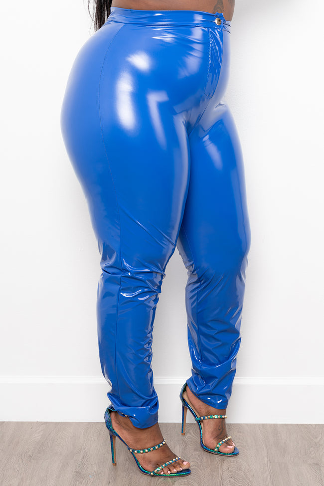 "Plus Size ""Muy Caliente"" Liquid Leather Shiny Pants - Royal Blue"