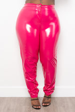 "Plus Size ""Muy Caliente"" Liquid Leather Shiny Pants - Fuchsia"