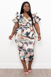 "Plus Size ""Blush"" Floral Midi - Multi"