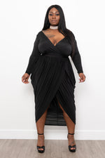 "Plus Size ""Josephine"" Tulip Midi Dress - Black"