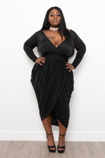 "Plus Size ""Josephine"" Tulip Midi Dress - Royal Blue"