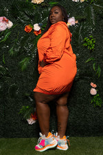 "Plus Size ""Sporty Shorty"" Track Dress - Orange"