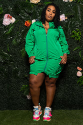 "Plus Size ""Sporty Shorty"" Track Dress - Green"