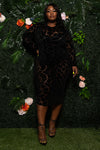 "Plus Size ""Black Valentine"" Mesh Peek Dress"
