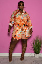 "Plus Size ""Melrose"" Shirt Dress Biker Set - Peach Baby Blue"