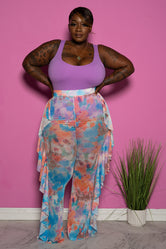 "Plus Size ""I Got a Thing 4 U"" Mesh High Waist Ruffle Tie Dye Pants - Blue Multi"