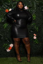 "Plus Size ""Tender Kisses"" Vegan Leather Dress - Black"