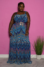 "Plus Size ""Planet Blue"" Accordion Maxi Dress - Blue Multi"