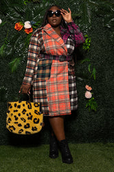"""It's The Plaid For Me"" Color Block Wool Trench Coat - Multi"