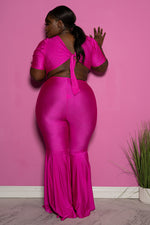 "Plus Size ""Lifesize Doll""  Cut Out Reversible bell Bottom Jumpsuit - Fuchsia Pink"