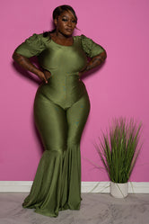 "Plus Size ""Lifesize Doll""  Cut Out Reversible bell Bottom Jumpsuit - Olive Green"