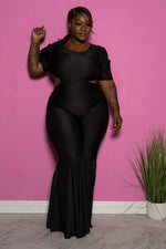 "Plus Size ""Lifesize Doll""  Cut Out Reversible bell Bottom Jumpsuit - Black"