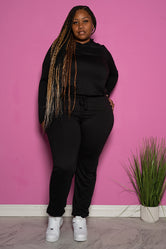 "Plus Size ""In Route"" Hoodie Sweatsuit Set - Black"