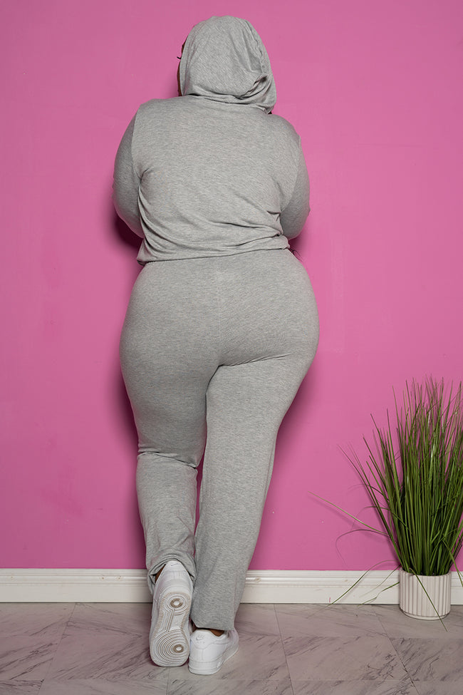 "Plus Size ""In Route"" Hoodie Sweatsuit Set - Gray"