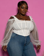 "Plus Size ""Pretty Things"" Sheer Sleeve Bustier Top - Ivory"