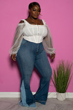 "Plus Size ""Day and Night"" Bell Bottom Denim Jeans - Multi"