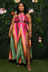 "Plus Size ""Easy Like Sunday Morning"" Backless Maxi Dress - Multi Green Fuchsia"