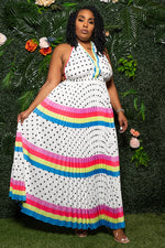 "Plus Size ""Dotty"" Pleated Polka Dot Maxi Halter Dress - White Multi"