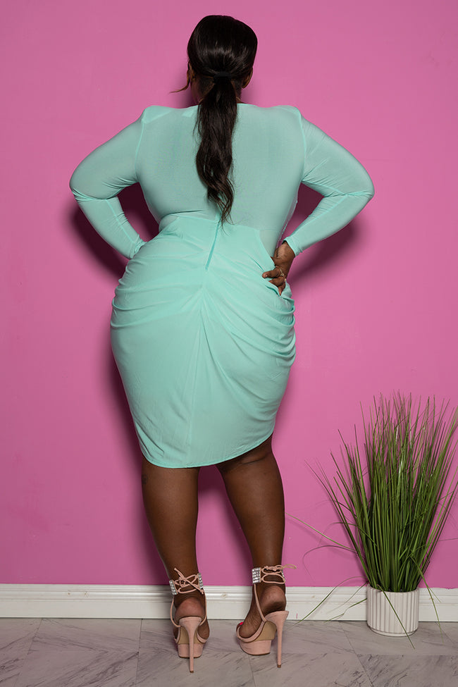 "Plus Size ""Last Call"" Draped Tulip Mini Dress - Mint Green"