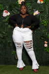 "Plus Size ""Apple Bottom"" Destroyed Bell Jeans - White"