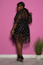 "Plus SIze ""Glitter Girl"" Mesh Dress - Black Polk Dot Glitter"