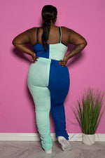 "Plus Size ""Who's Next"" Two Tone Stacked Pant Set - Blue"