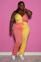 "Plus Size ""Who's Next"" Two Tone Stacked Pant Set - Pink Yellow"