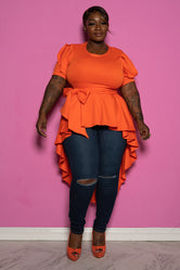 "Plus Size ""Geneva"" High Low Peplum Top - Orange"